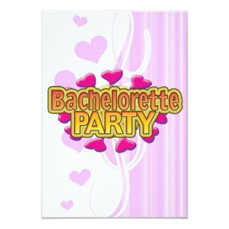"pink heart bachelorette party crazy neon wild fun 3.5"" x 5"" invitation card"