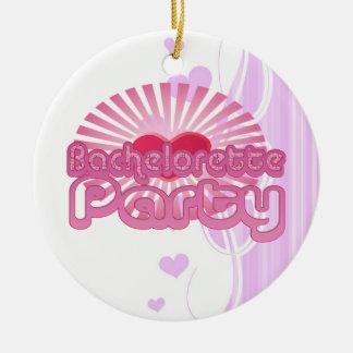 pink heart bachelorette party cute bridal christmas tree ornament