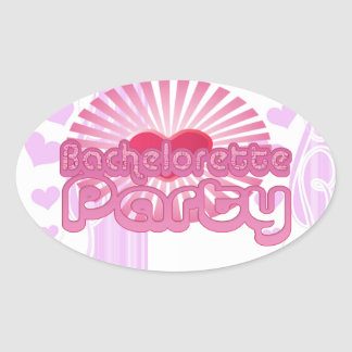 pink heart bachelorette party cute bridal oval stickers