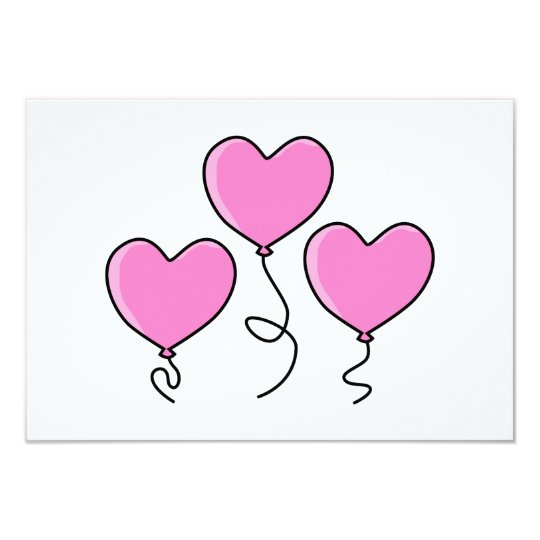 Pink Heart Balloon with Black Outline. Card