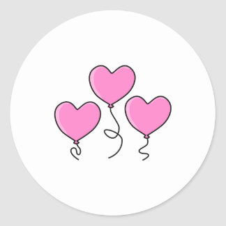 Pink Heart Balloon with Black Outline Sticker