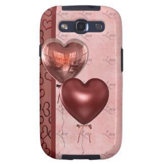 Pink Heart Balloons and Love Samsung Galaxy S3 Case