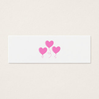Pink Heart Balloons. Mini Business Card