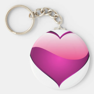 Pink Heart Basic Round Button Key Ring
