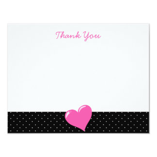 "Pink Heart Black and White Polka Dot Note Cards 4.25"" X 5.5"" Invitation Card"