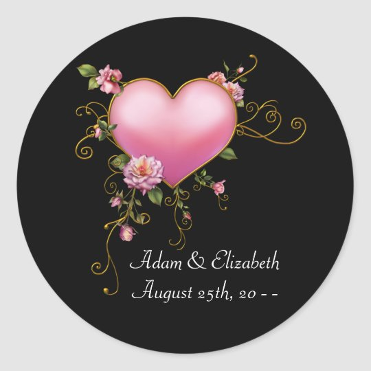 Pink Heart Black Wedding Favour Label Stickers