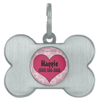 Pink Heart Bone Shaped Pet Tag
