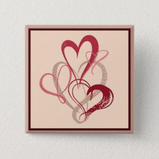 Pink Heart Bouquet Valentine's Day Button