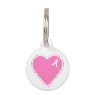 Pink Heart Breast Cancer Awareness Pet Tag