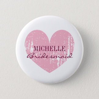 Pink heart bridesmaids buttons | Personalized name