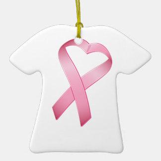 Pink Heart Cancer Ribbon Christmas Tree Ornaments