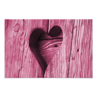 Pink Heart carved in wood Photo