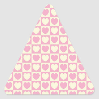 Pink Heart Checkered Triangle Sticker