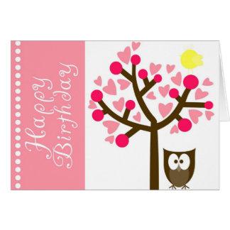 Pink Heart Cherry Blossom Owl Birthday Card