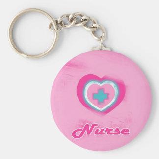 Pink Heart & Cross- Nurse Basic Round Button Key Ring