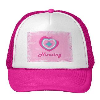 Pink Heart & Cross- Nursing Cap