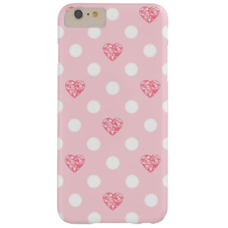 Pink Heart Crystals and Polka Dots Barely There iPhone 6 Plus Case