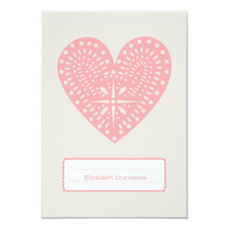 Pink Heart Cutout Kids School Classroom Valentine 9 Cm X 13 Cm Invitation Card