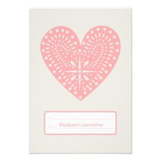 Pink Heart Cutout Kids School Classroom Valentine Custom Invitations