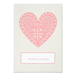 """Pink Heart Cutout Kids School Classroom Valentine 3.5"""" X 5"""" Invitation Card"""