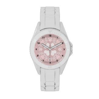 Pink Heart Damask Wrist Watch