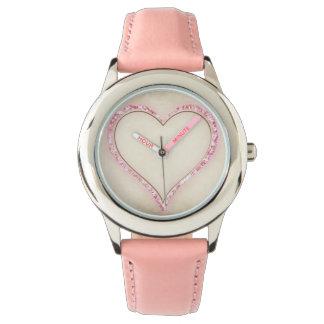 Pink heart decoration watch