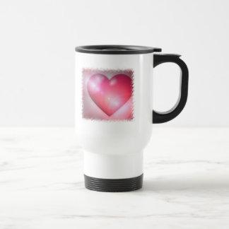 Pink Heart Design Plastic Travel Mug