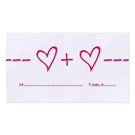 Pink Heart Equation Place Card Business Card