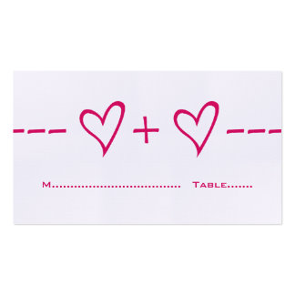 Pink Heart Equation Place Card Pack Of Standard Business Cards