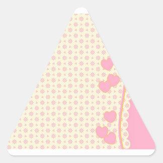 Pink Heart Eyelet Background Triangle Sticker