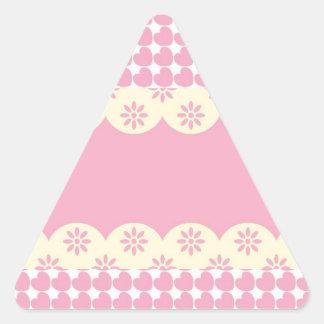 Pink Heart Eyelet Triangle Sticker