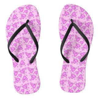 Pink Heart Flip Flops