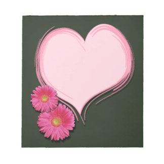 Pink Heart Flowers - Notepad