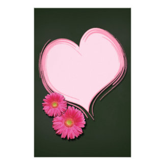 Pink Heart Flowers - Stationery Letterhead