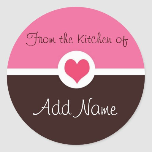 "Pink Heart ""from the kitchen of"" Sticker"