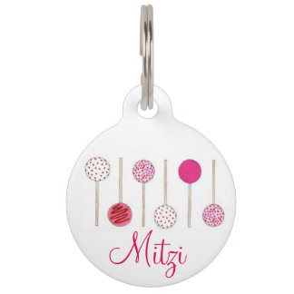 Pink Heart Frosted Cake Pops Foodie Dog Pet Tag
