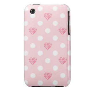 Pink Heart Gems and White Dots iPhone 3 Case-Mate Cases