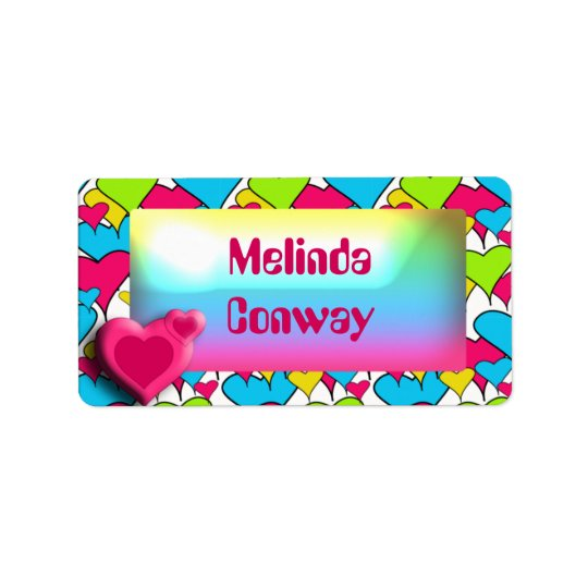 Pink Heart - Girls school name label Address Label