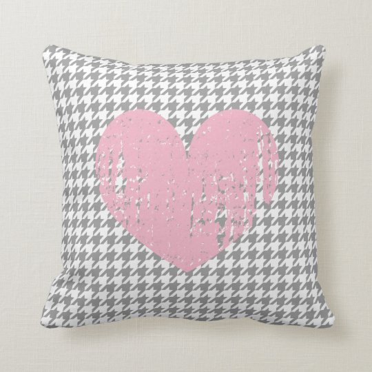 Pink heart & grey houndstooth pattern throw pillow