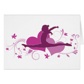 Pink Heart Gymnastics Leap Greeting Card