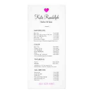 Pink Heart Hair Stylist White Price List Menu Customized Rack Card