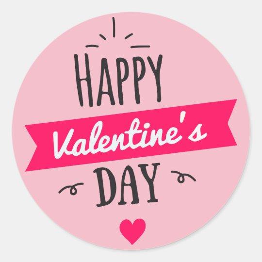 Pink Heart Happy Valentines Day Classic Round Sticker