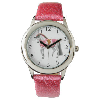 Pink Heart Horse Customizable Girls Watch