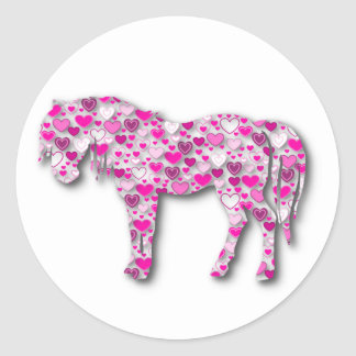 Pink - Heart Horse Round Sticker