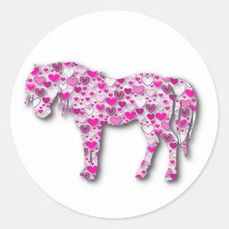 Pink - Heart Horse Round Sticker