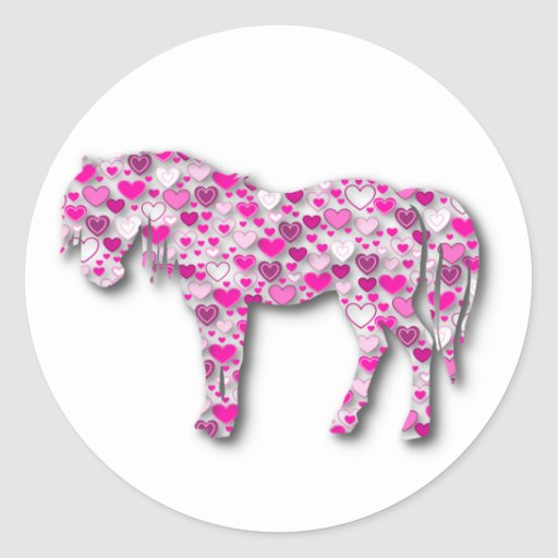 Pink - Heart Horse Stickers