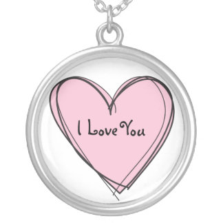 PINK_HEART, I Love You Round Pendant Necklace