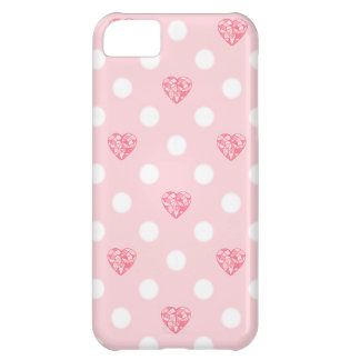 Pink Heart Jewels and Polka Dots iPhone 5C Case