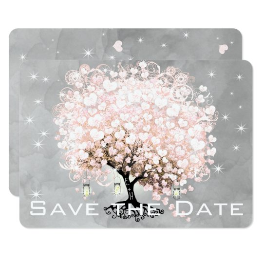 Pink Heart Leaf Tree Save the Date Card