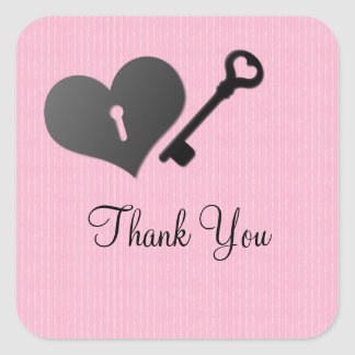 Pink Heart Lock and Key Thank You Stickers
